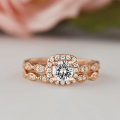 3/4 ctw Art Deco Halo Set - Rose Gold