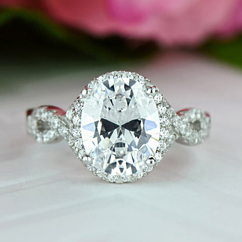 2.5 ctw Oval Twisted Halo Ring