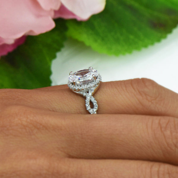 3.5 ctw Oval Twisted Halo Ring, Sz 6-9