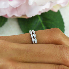Art Deco Half Eternity Band Set - 10k Solid White Gold