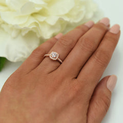 3/4 ctw Classic Square Halo Ring - Rose GP