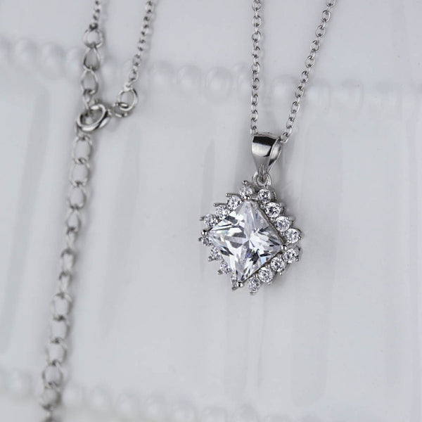 3 ctw Princess Cut Halo Necklace, 40% Final Sale