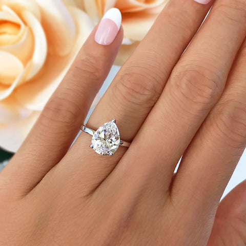 2 ct Pear Solitaire Ring - Rose GP