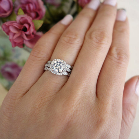 1.25 ctw Art Deco Round Halo 3 Band Wedding Set
