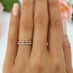 Art Deco Half Eternity Band Set - Rose Gold