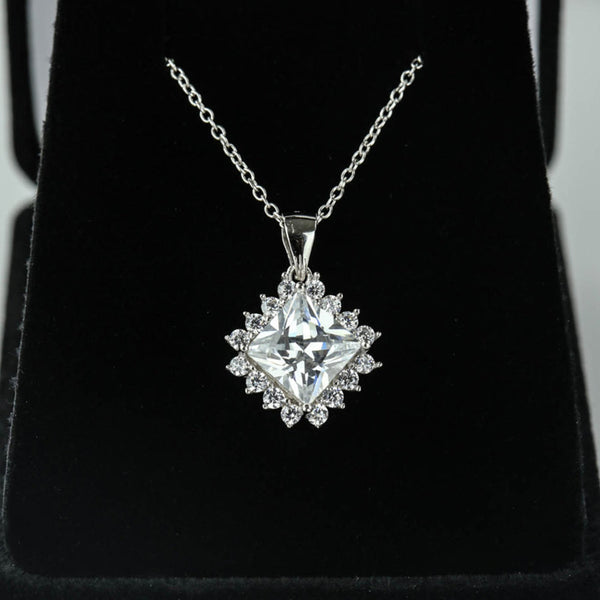 3 ctw Princess Cut Halo Necklace