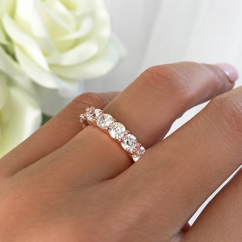 Micropave Thin Half Eternity Band, Sz 8-9