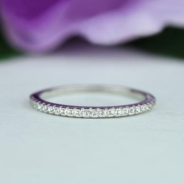 Classic Half Eternity Band - 10k Solid White Gold