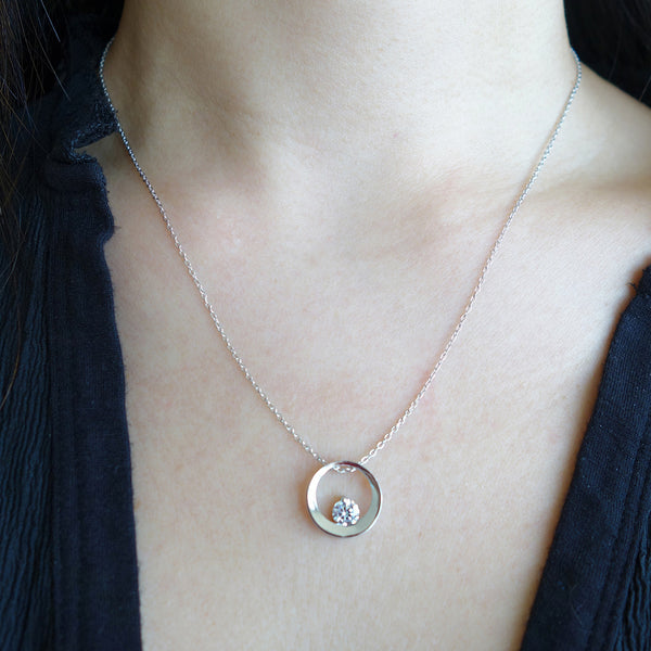 1/2 ct Enso Circle Zen Necklace