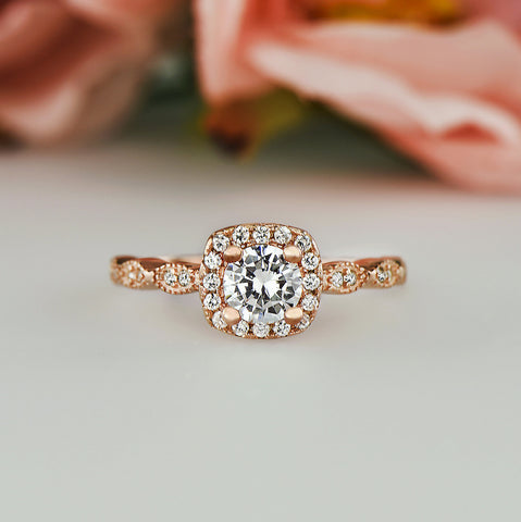 3/4 ctw Art Deco Halo Ring - Rose GP