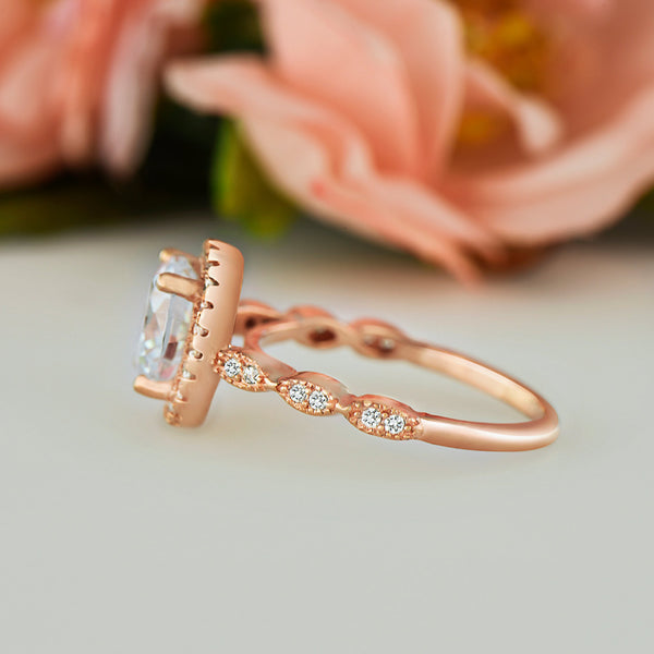 2.25 ctw Art Deco Halo Ring - Rose Gold