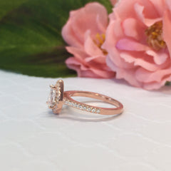 1 ctw Classic Pear Halo Ring - Rose Gold