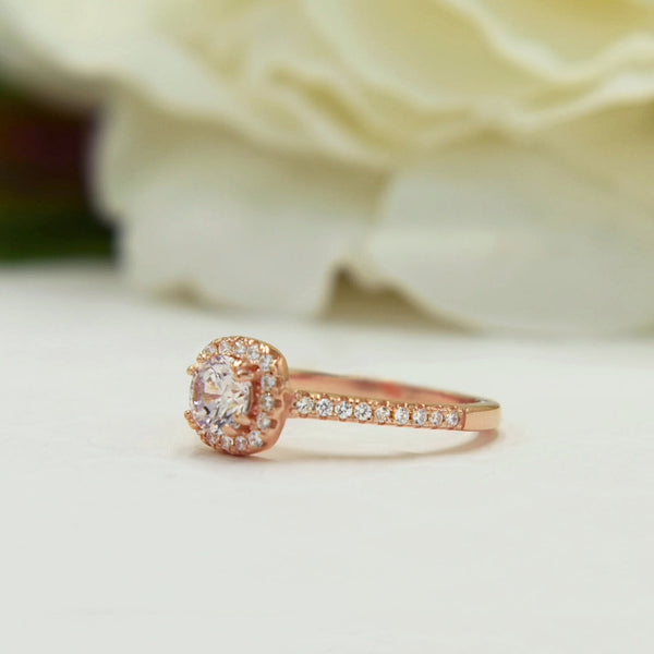 3/4 ctw Classic Square Halo Ring - Rose GP, 40% Final Sale