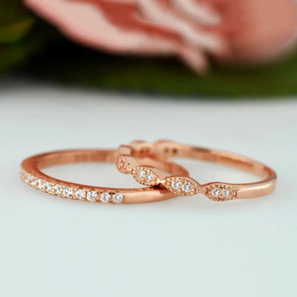 Art Deco Half Eternity Band Set - 10k Solid Rose Gold