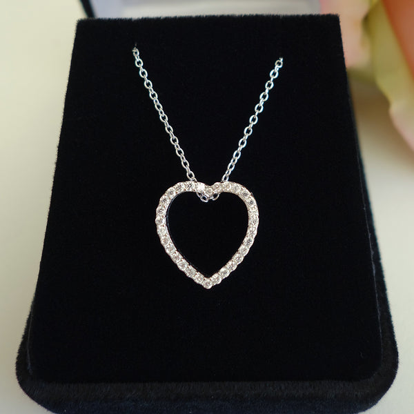 1/4 ctw Open Heart Necklace