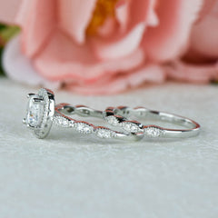 1.25 ctw Art Deco Round Halo Wedding Set