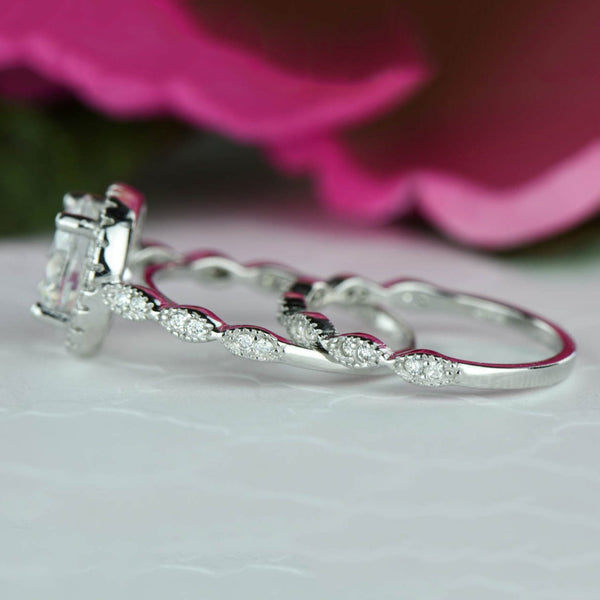 2.25 ctw Art Deco Halo Wedding Set