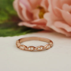 Art Deco Half Eternity Band - Rose Gold