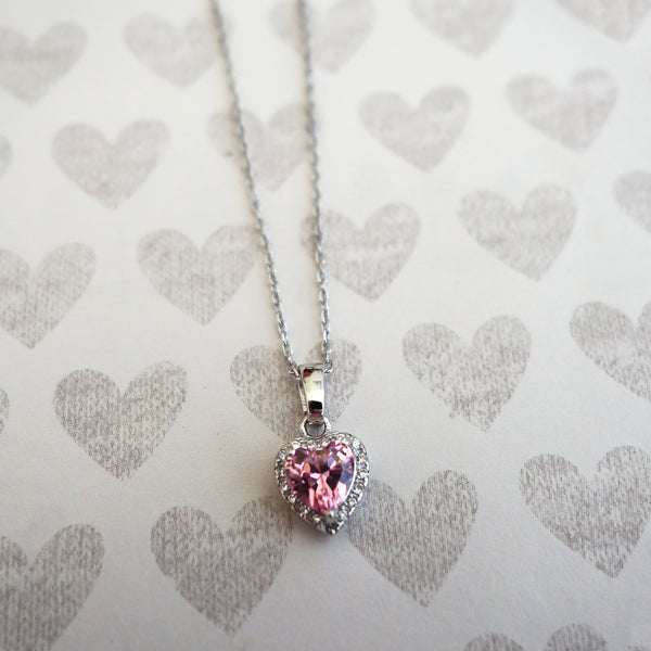 1/2 ctw Dainty Pink Heart Halo Necklace