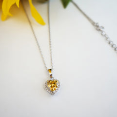 1/2 ctw Dainty Yellow Heart Halo Necklace