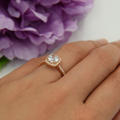 1.25 ctw Square Halo Ring - Rose Gold