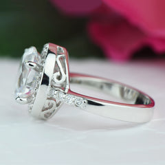 3 ctw Oval Halo Filigree Ring - Final Sale