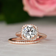 2.25 ctw Square Halo Set - Rose GP