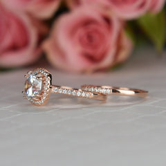 2.25 ctw Square Halo Set - Rose Gold