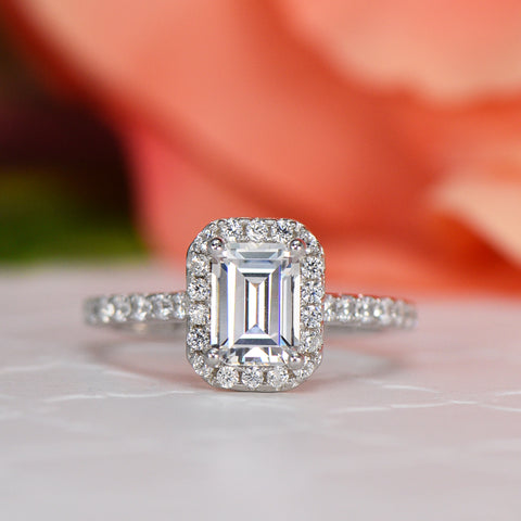 2.25 ctw Square Halo Ring - Rose GP