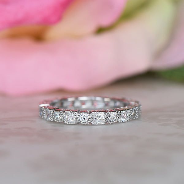 1/4 ctw Princess Art Deco Engraved Eternity Band
