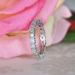 1/4 ctw Princess Art Deco Eternity Band - 10k Solid White Gold