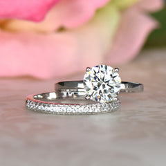 2 ct Round 4 Prong Stacking Solitaire Set