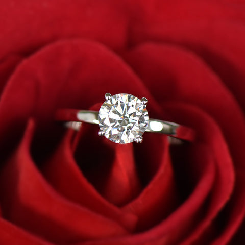 1 ct Classic Solitaire Ring - 10k Solid White Gold, Sz 4-9