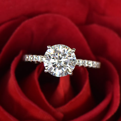 2.25 ctw Oval Accented Solitaire Ring - 10k Solid White Gold