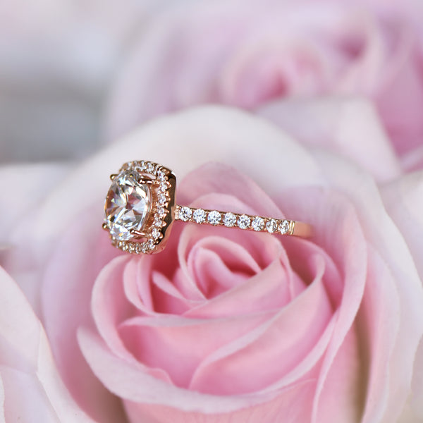 2.25 ctw Square Halo Ring - 10k Solid Rose Gold