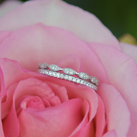 Art Deco Half Eternity Band Set - Rose GP
