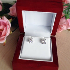 2 ctw 4 Prong Stud Earrings - 10k Solid White Gold