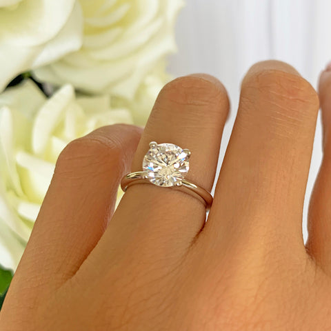 3 ct 6 Prong V Style Solitaire Ring - 10k Solid Yellow Gold, Sz 7
