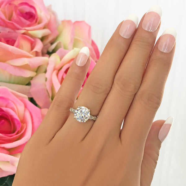 3.25 ctw Wide Art Deco Solitaire Ring