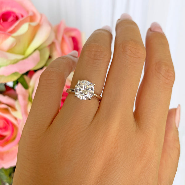 3 ct Classic V Style 4 Prong Solitaire Ring