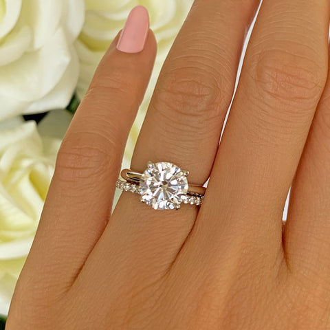 4 ctw 2 ct Center Classic Solitaire Full Eternity Set, Sz 4-10