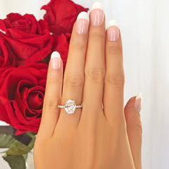 3.25 ctw Oval Accented Solitaire Ring - 10k Solid White Gold
