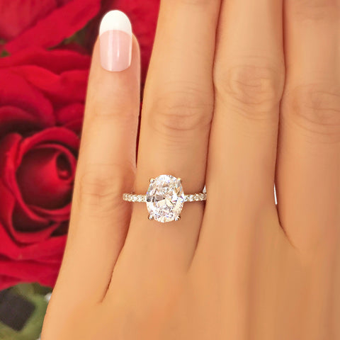 3.25 ctw Round Accented Solitaire Ring
