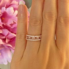 Art Deco Half Eternity Three Band Set - Rose GP