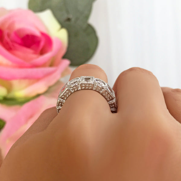 4 ctw Art Deco Princess Eternity Band