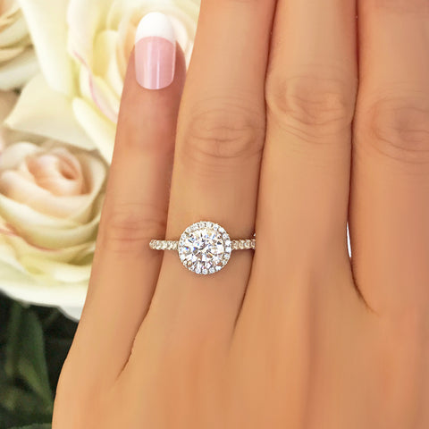 2.25 ctw 6 Prong Round Accented Solitaire Ring