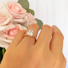3 ct Pear Solitaire Ring - Rose GP, 30% Final Sale