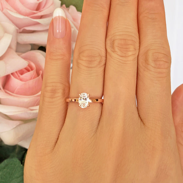3/4 ct Oval Solitaire Ring - Rose GP
