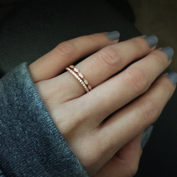 Half Eternity Band - 10k Solid Rose Gold