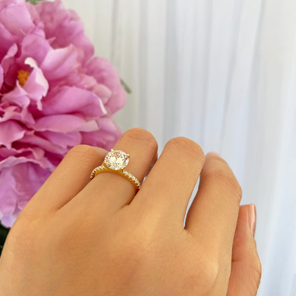 2.25 ctw Round Accented Solitaire Ring - 10k Solid Yellow Gold